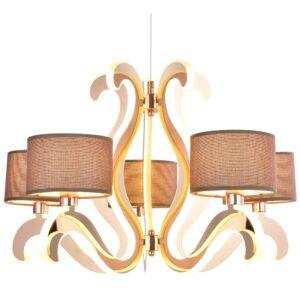 AMBROSIA 3 LAMPA WISZĄCA 5X40W E14 + 43,4W LED MIEDZIANY - 35-33918