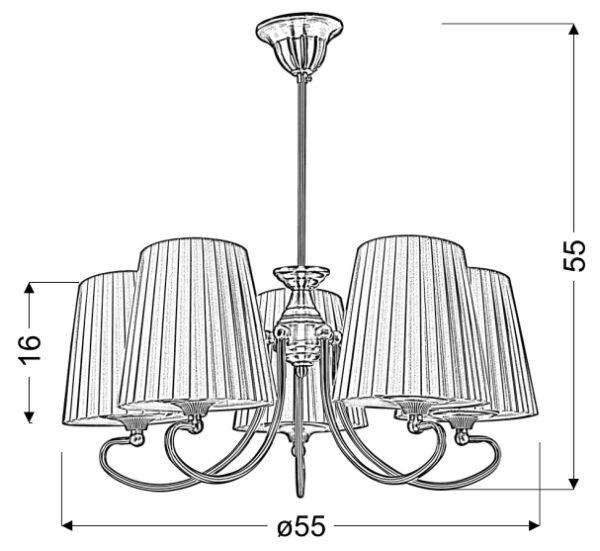 MOZART LAMPA WISZĄCA 5X60W E27 PATYNOWA MIEDŹ MIODOWY - 35-34083