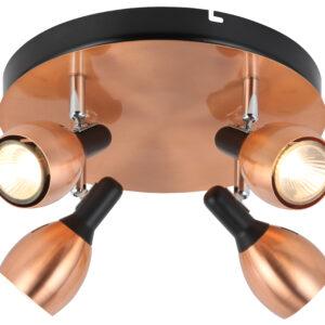 CROSS LAMPA SUFITOWA PLAFON 4X50W GU10 MIEDZIANY - 98-34878