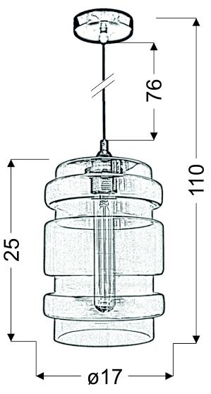 DECORADO LAMPA WISZĄCA 18 1X60W E27 KLOSZ BEZBARWNY + ŻARÓWKA - 31-36674