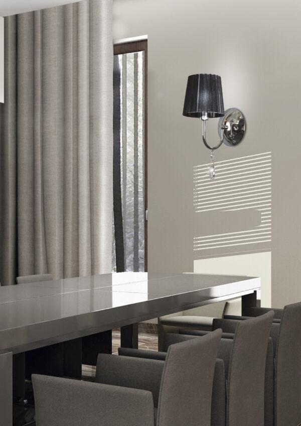 SORENTO LAMPA KINKIET 1X40W E14 CHROM ABAŻUR CZARNY - 21-38036