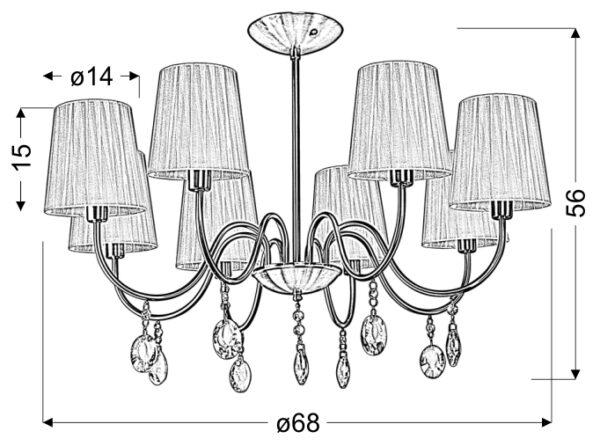 SORENTO LAMPA WISZĄCA 8X40W E14 CHROM ABAŻUR CZARNY - 38-38067
