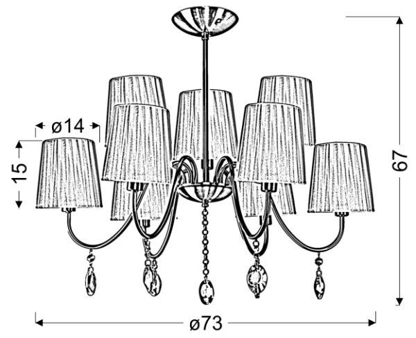 SORENTO LAMPA WISZĄCA 9X40W E14 CHROM ABAŻUR CZARNY - 39-38074