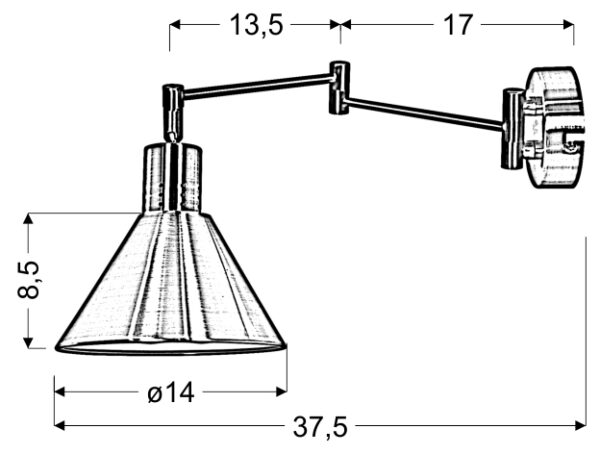 COPENHAGEN LAMPA KINKIET 1X40W E14 PATYNA - 21-41210