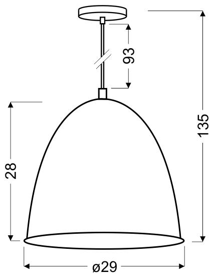 PATCH LAMPA WISZĄCA 29 1X60W E27 CZARNY + CHROMOWANY DEKOR - 31-43184