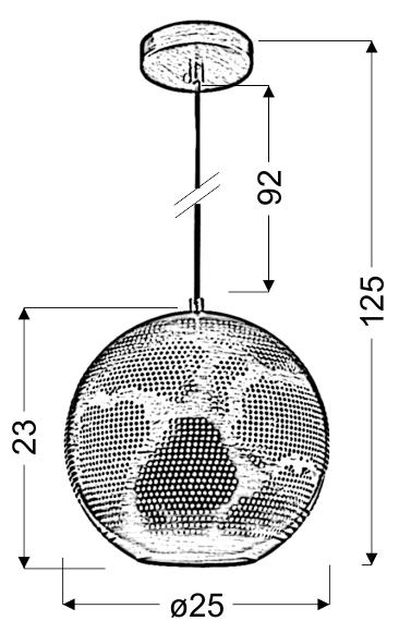 SFINKS LAMPA WISZĄCA 25 KULA S 1X60W E27 AŻUROWY BRĄZOWY - 31-43283