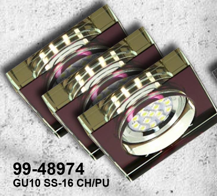 ZESTAW TRZECH OPRAW  SS-16 CH/PU 3X3W GU10 LED Z ŻARÓWKĄ  LED  CHROM OPR. STROP. STAŁA KWADRATOWA SZKŁO FIOLETOWE - 99-48974