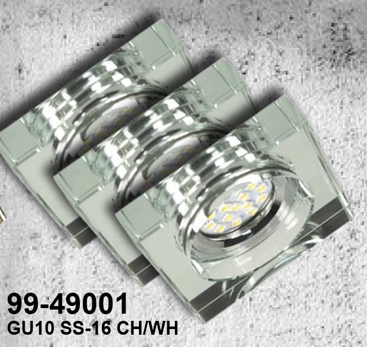 ZESTAW TRZECH OPRAW SS-16 CH/WH  3X3W GU10 LED Z ŻARÓWKĄ  LED CHROM OPR. STROP. STAŁA KWADRATOWA SZKŁO BEZBARWNE - 99-49001