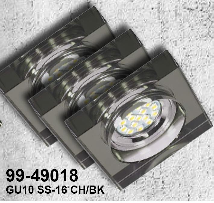 ZESTAW TRZECH OPRAW  SS-16 CH/BK 3X3W GU10 LED Z ŻARÓWKĄ  LED  CHROM OPR. STROP. STAŁA KWADRATOWA SZKŁO CZARNE - 99-49018