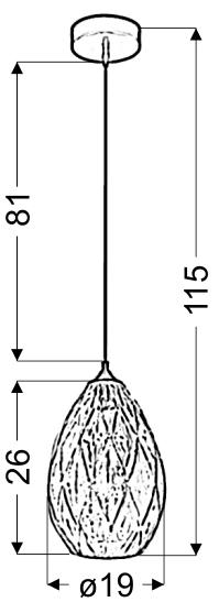 GRAN LAMPA WISZĄCA 19 1X60W E27 ZŁOTY - 31-51455