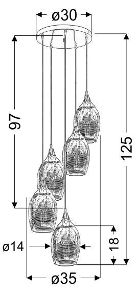 MARINA LAMPA WISZĄCA TALERZ 5X60W E27 MIEDZIANY - 35-51639