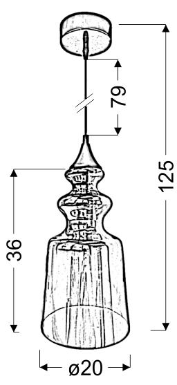 OXELO LAMPA WISZĄCA 20/36 1X60W E27 BEZBARWNY - 31-51837