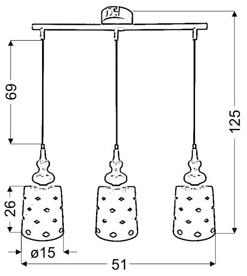 HAMP LAMPA WISZĄCA 3X60W E27 BIAŁY - 33-51943