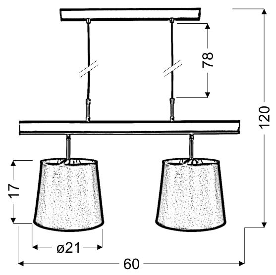 MILONGA LAMPA WISZĄCA 2X60W E27 PATYNA - 32-53558