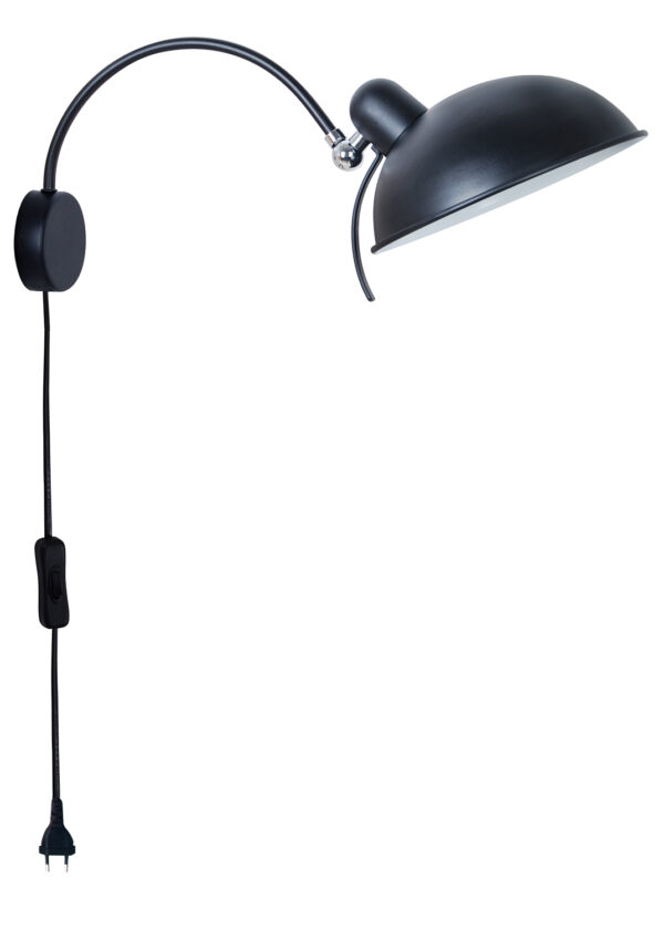 NORA LAMPA KINKIET 1X40W E14 CZARNY - 21-53602