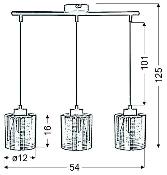COX LAMPA WISZĄCA 3X60W E27 CHROM - 33-53886