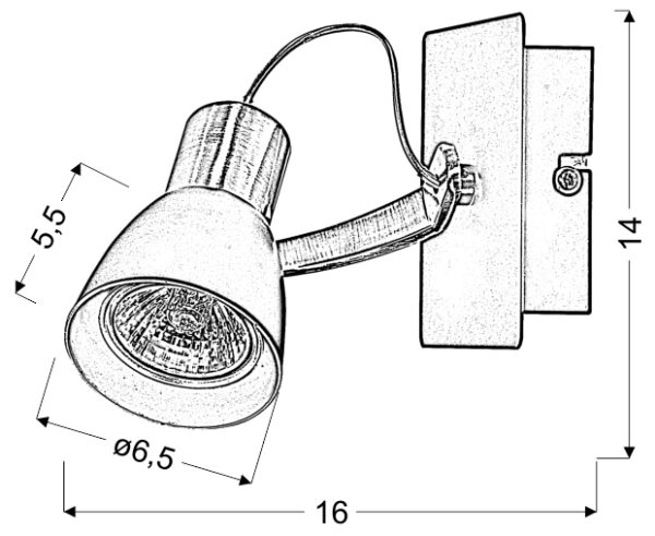 MARKUS LAMPA KINKIET 1X50W GU10 CZARNY+MIEDZIANY BEZ ŻARÓWKI - 91-35554-M