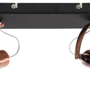 MARKUS LAMPA SUFITOWA LISTWA 2X50W GU10 CZARNY+MIEDZIANY BEZ ŻARÓWKI - 92-37442-M
