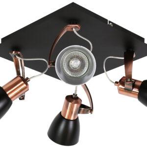 MARKUS LAMPA SUFITOWA PLAFON 4X50W GU10 CZARNY+MIEDZIANY BEZ ŻARÓWKI - 98-35639-M