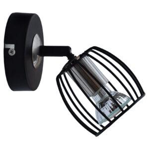 ZONK LAMPA KINKIET 1X3W LED GU10 CZARNY MATOWY + SATYNA NIKIEL - 91-54319