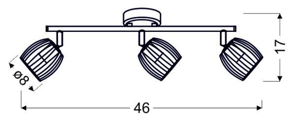 ZONK LAMPA SUFITOWA LISTWA 3X3W LED GU10 CZARNY MATOWY+SATYNA NIKIEL - 93-54333