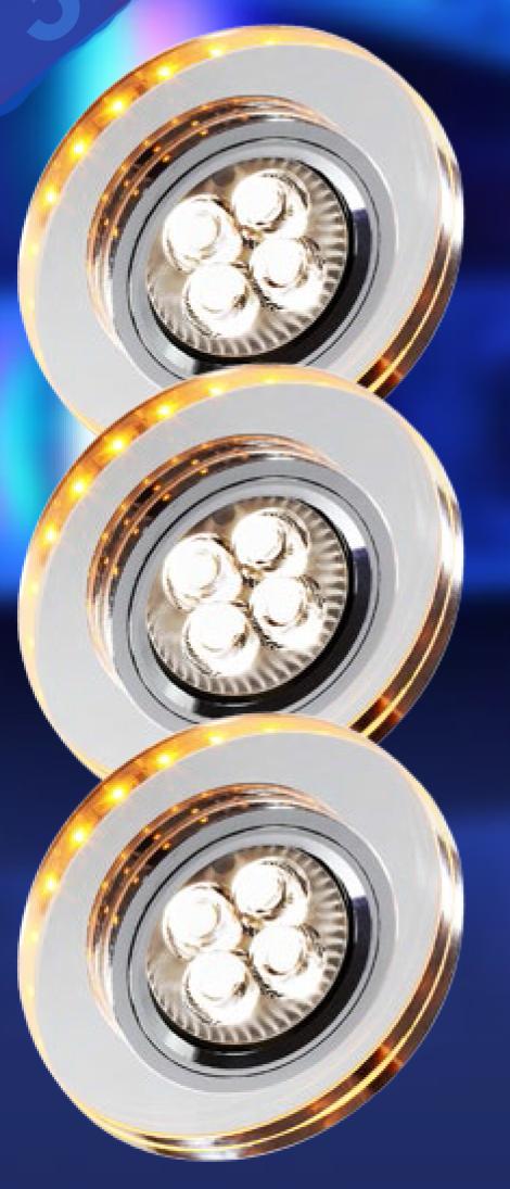ZESTAW TRZECH OPRAW SS-23 CH/TR+AM GU10 50W+LED SMD 230V BURSZTYNOWY 2,1W OPR. STROP. STAŁA OKRGŁA SZKŁO TRANSPARENTNE - 99-54791