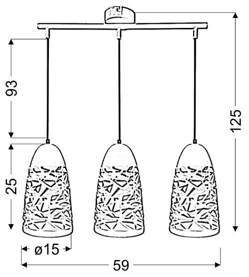 SABRIN LAMPA WISZĄCA  3X60W E27 BIAŁY - 33-54876