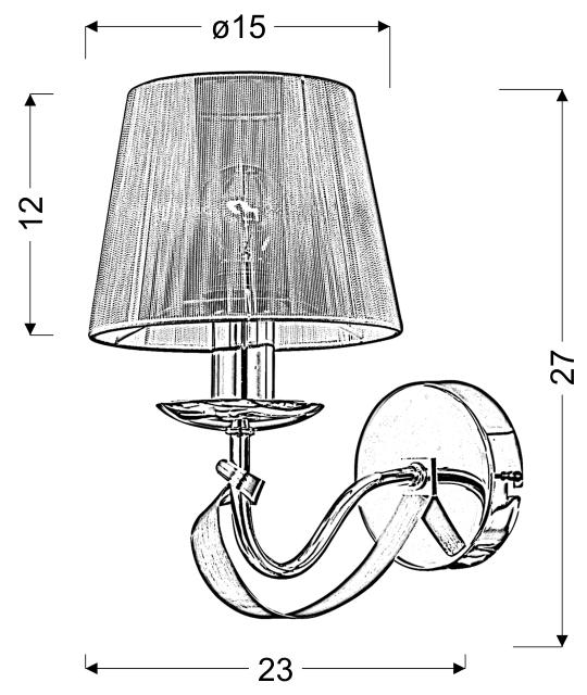 DIVA LAMPA KINKIET 1X40W E14 CHROM/ZŁOTY - 21-55040
