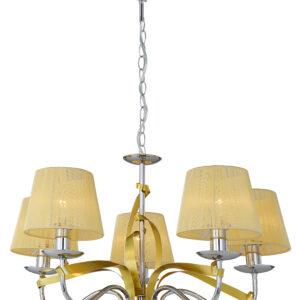 DIVA LAMPA WISZĄCA 5X40W E14 CHROM/ZŁOTY - 35-55064