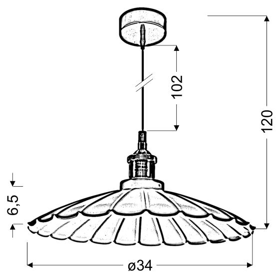 FLAM LAMPA WISZĄCA 34 1X60W E27 CZARNY - 31-56337