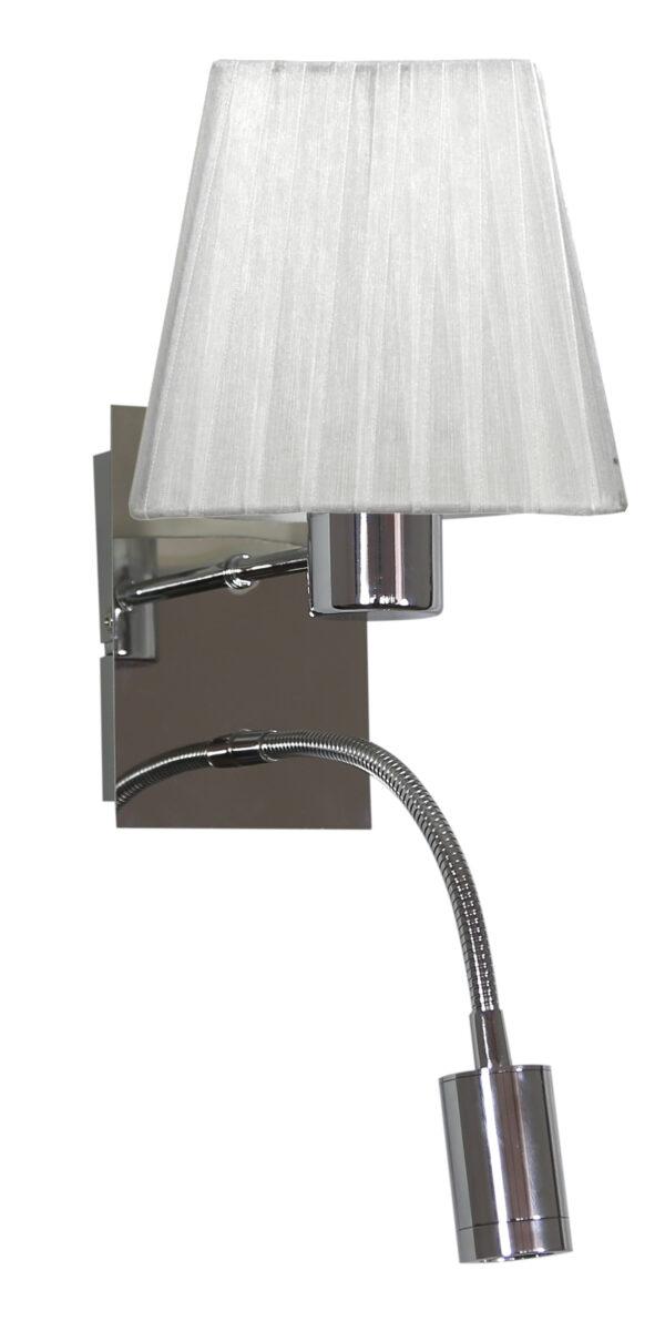 SYLWANA LAMPA KINKIET 1X40W E14 + LED Z WYŁĄCZNIKIEM CHROM / BIAŁY KWADRAT - 21-57150