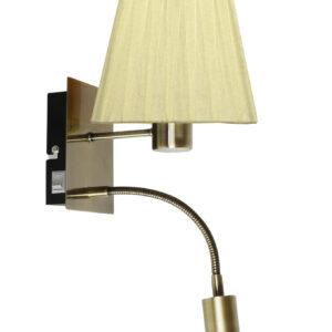 SYLWANA LAMPA KINKIET 1X40W E14 + LED Z WYŁĄCZNIKIEM PATYNA / ŻÓŁTY KWADRAT - 21-57167
