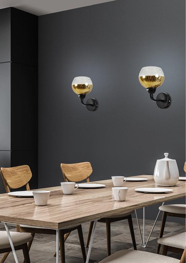 CROMINA GOLD LAMPA KINKIET 1X60W E27 CZARNY - 21-57242