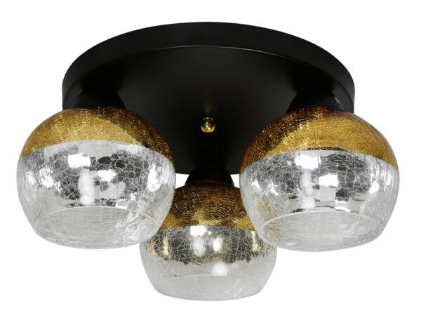 CROMINA GOLD LAMPA SUFITOWA PLAFON OKRĄGŁY 3X60W E27 CZARNY - 98-57280