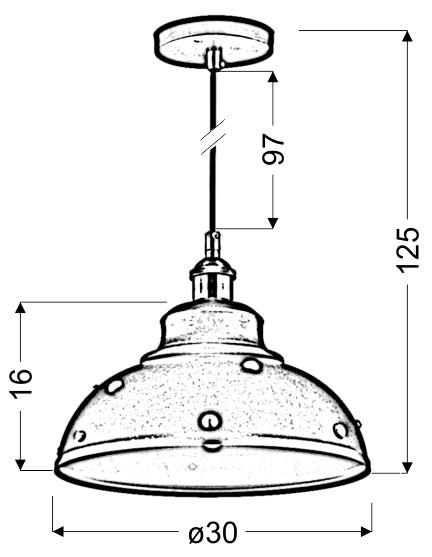 SCRIMI 3 LAMPA WISZĄCA 30 1X40W E27 CZARNY - 31-57662
