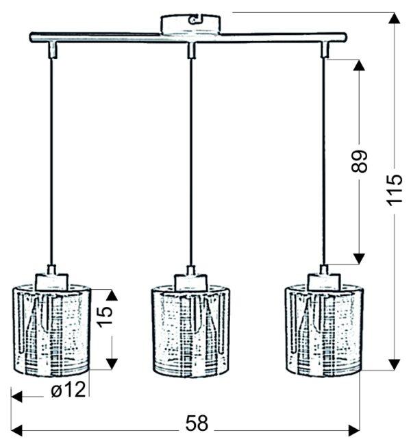 NOCTURNO LAMPA WISZĄCA 3X40W E27 CHROM - 33-57709