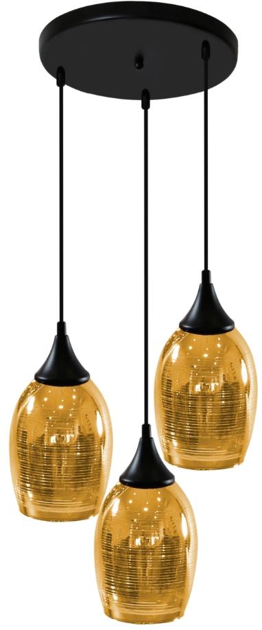 MARINA LAMPA WISZĄCA TALERZ 3X60W E27 ZŁOTY - 33-58010