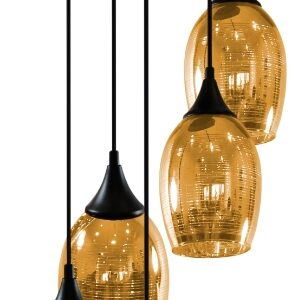 MARINA LAMPA WISZĄCA TALERZ 5X60W E27 ZŁOTY - 35-58027