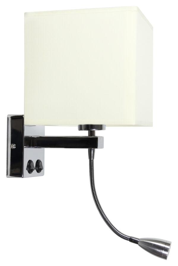 BOHO LAMPA KINKIET 1X40W E27 + 2W LED CHROM ABAŻ. KWADRATOWY BEŻOWY 17 CM - 21-58256