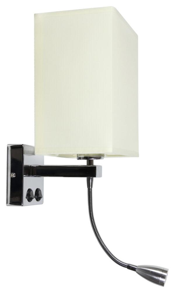 BOHO LAMPA KINKIET 1X40W E27 + 2W LED CHROM ABAŻ. PROSTOKĄTNY BEŻOWY 18X12X21 CM - 21-58270