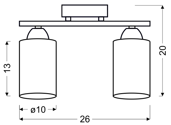 INDIRA LAMPA SUFITOWA 2X40W E14 CZARNY - 32-58638