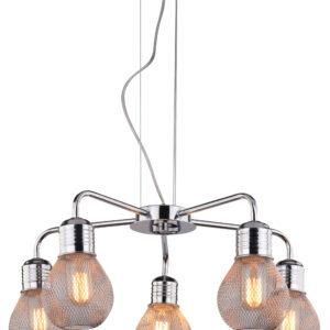 GLIVA LAMPA WISZĄCA 5X60W E27 CHROM (BEZ ŻARÓWEK) - 35-58669