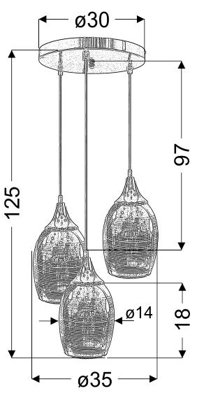 MARINA LAMPA WISZĄCA TALERZ 3X60W E27 CHROM - 33-60181