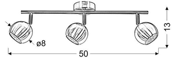 BALT LAMPA SUFITOWA LISTWA 3 X MAX 50W GU10 SATYNA BEZ ŻARÓWEK - 93-60624