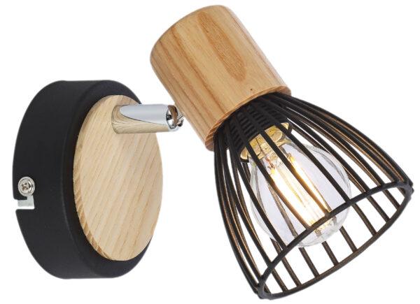 ANTICA LAMPA KINKIET 1 X MAX 25W E14 CZARNY + DREWNO - 91-60938