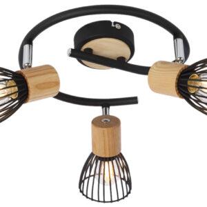 ANTICA LAMPA SUFITOWA SPIRALA 3 X MAX 25W E14 CZARNY + DREWNO - 98-60952