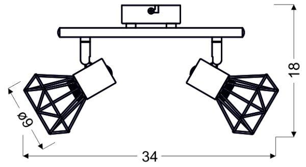 VERVE LAMPA SUFITOWA LISTWA 2X40W E14 MATOWY SZARY - 92-60976