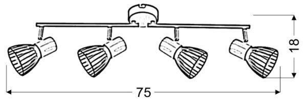 ANTICA LAMPA SUFITOWA LISTWA 4 X MAX 25W E14 CZARNY + DREWNO - 94-61201