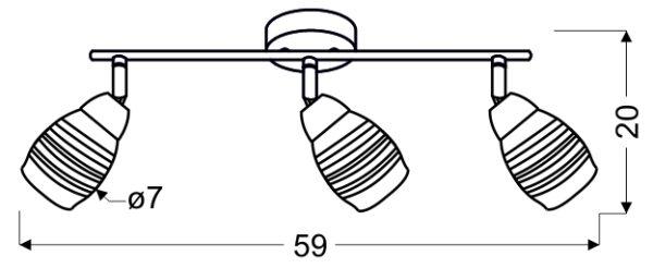 MILTON LAMPA SUFITOWA LISTWA 3X10W E14 LED CHROM - 93-61294