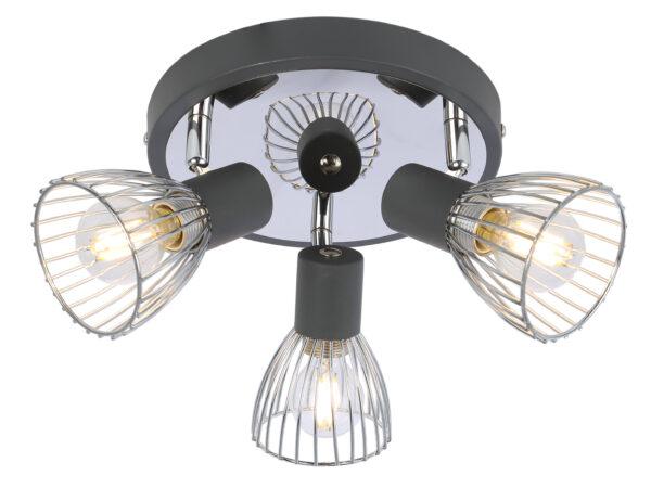 MODO LAMPA SUFITOWA PLAFON 3X40W E14 CZARNY+CHROM - 98-61546